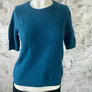 Mexx short sleeved teal angora sweater -size S